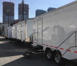 Portable Restroom Trailer LA Live nice porta potty rental corporate events