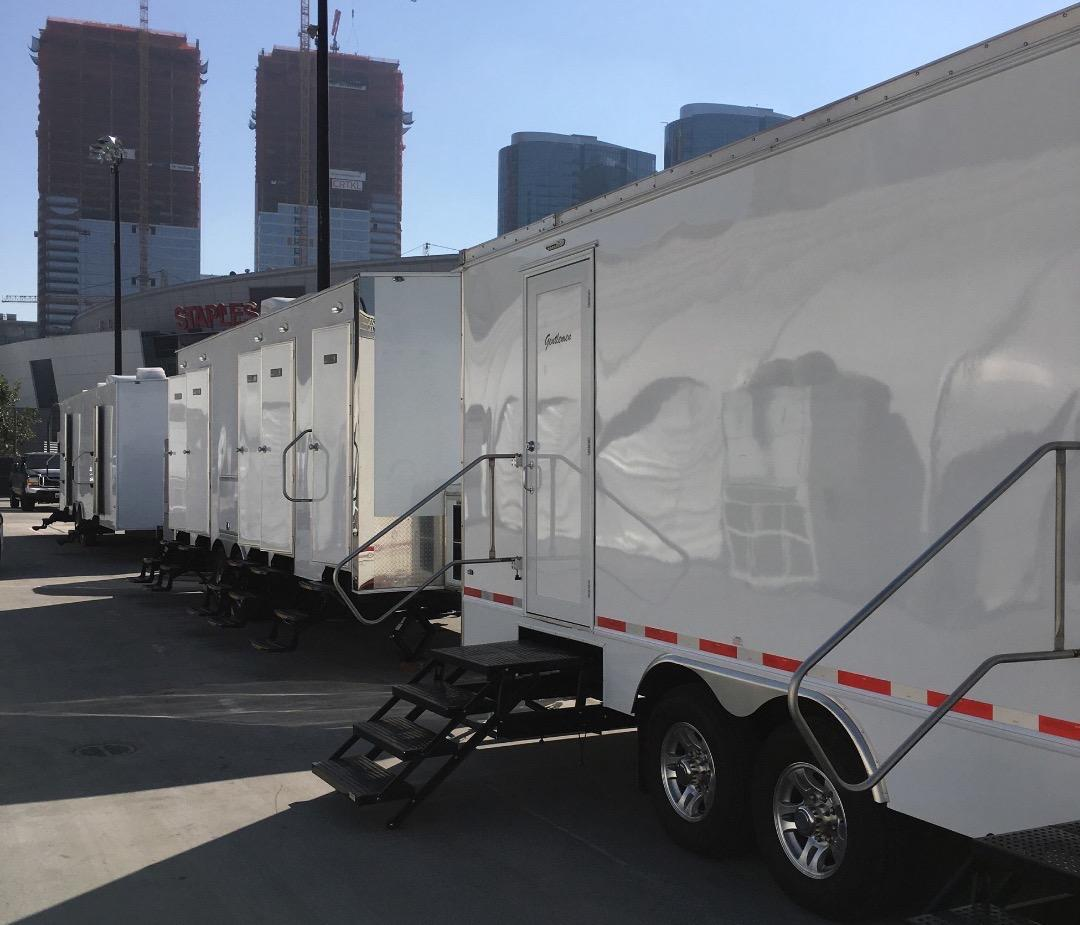 Portable Restroom Trailer LA Live nice porta potty rental corporate events