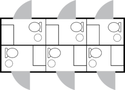 6 station combo shower trailer layout